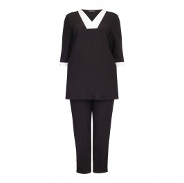 VERPASS BLACK AND WHITE STRIPE TOP+TROUSERS IN BLACK - Plus Size Collection