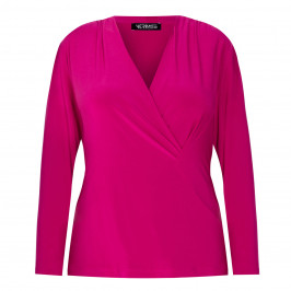 VERPASS JERSEY TOP CROSS-OVER CERISE - Plus Size Collection