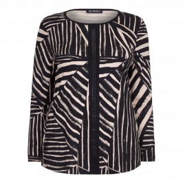 VERPASS abstract monochrome stripes print TOP - Plus Size Collection