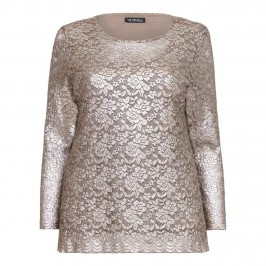 VERPASS gold floral stretch lace layered-TOP - Plus Size Collection