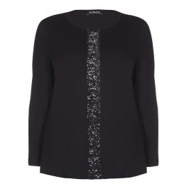 VERPASS BLACK JERSEY TOP WITH SEQUINnED STRIPE - Plus Size Collection
