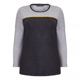 VERPASS black and grey colour block TOP with amber detail - Plus Size Collection