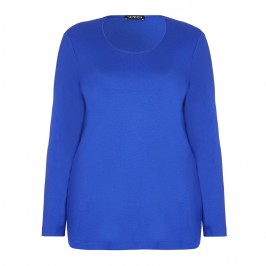 VERPASS ROYAL BLUE SCOOP NECK JERSEY TOP - Plus Size Collection