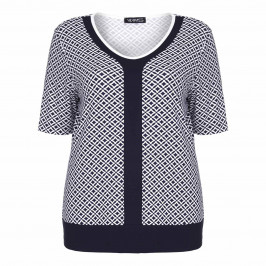VERPASS navy and white print jersey TOP - Plus Size Collection
