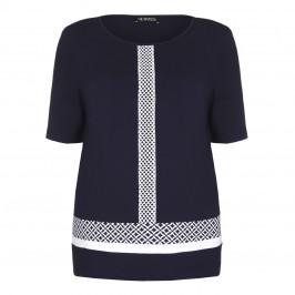VERPASS navy TOP with white accents - Plus Size Collection
