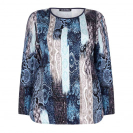 VERPASS blue PAISLEY PRINT TOP WITH STRIPE EFFECT - Plus Size Collection
