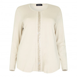 BEIGE LABEL JERSEY TOP WITH SEQUIN DETAIL - Plus Size Collection