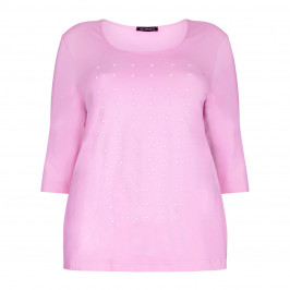 VERPASS pink jersey pearl stud TOP - Plus Size Collection