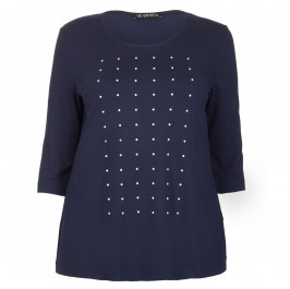 VERPASS NAVY PEARL STUD FRONT JERSEY TOP - Plus Size Collection