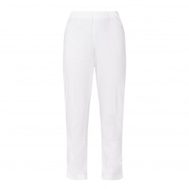 BEIGE LABEL PULL ON ANKLE GRAZER TROUSER IVORY - Plus Size Collection