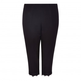 VERPASS BLACK LACE TRIM CROPPED TROUSERS - Plus Size Collection