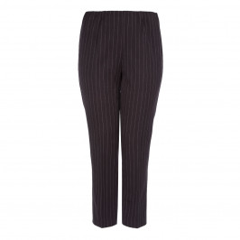 VERPASS BLACK PULL ON PINSTRIPE TROUSER - Plus Size Collection