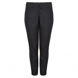 VERPASS BLACK NARROW LEG PULL ON COTTON STRETCH TROUSERS  - Plus Size Collection
