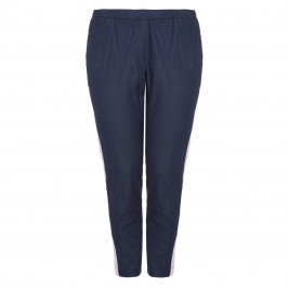 VERPASS NAVY CROPPED PULL ON TROUSERS WITH STRIPE DETAIL  - Plus Size Collection