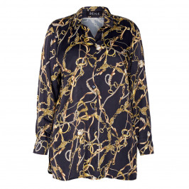 BEIGE EQUESTRIAN PRINT SATIN SHIRT BLACK AND GOLD  - Plus Size Collection