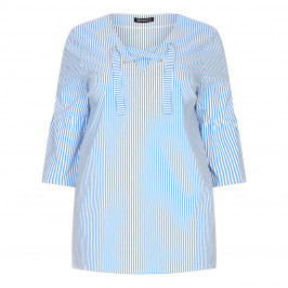 VERPASS CANDY STRIPE TUNIC WITH TIE NECKLINE  - Plus Size Collection
