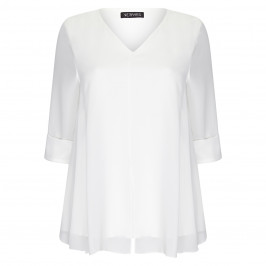 VERPASS V-NECK GEORGETTE TUNIC WHITE - Plus Size Collection