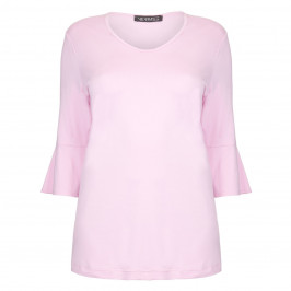 VERPASS PINK JERSEY TUNIC WITH TRUMPET SLEEVES  - Plus Size Collection