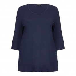 VERPASS NAVY JERSEY TUNIC WITH TRUMPET SLEEVES  - Plus Size Collection