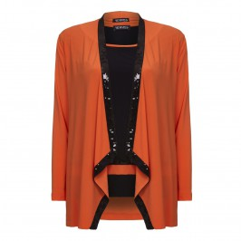 VERPASS sequin trimmed Orange Jacket with Black Vest - Plus Size Collection