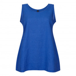 YOEK LINEN VEST COBALT - Plus Size Collection