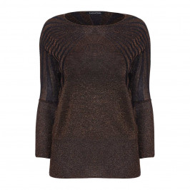 LUISA VIOLA COPPER LUREX SWEATER WITH DOLMAN SLEEVES - Plus Size Collection