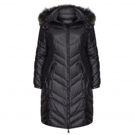 ROFA CHEVRON QUILT PUFFER BLACK - Plus Size Collection