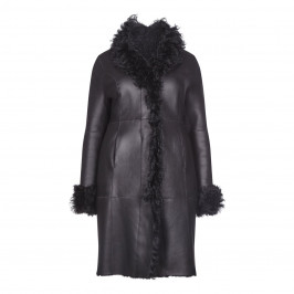YOEK BLACK SHEARLING COAT - Plus Size Collection