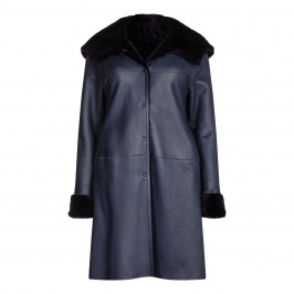 YOEK navy shearling COAT with hood - Plus Size Collection
