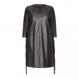 YOEK black leather DRESS with side fringe - Plus Size Collection