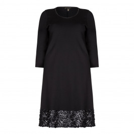 Yoek Black Dress With Floral Appliques - Plus Size Collection