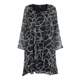 YOEK BLACK AND WHITE CHIFFON DRESS AND COAT OUTFIT - Plus Size Collection
