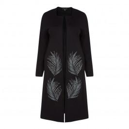 YOEK BLACK EMBELLISHED DUSTER COAT - Plus Size Collection