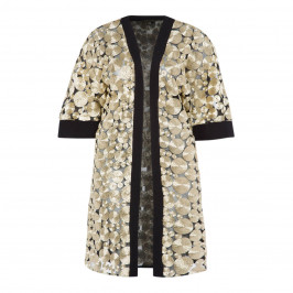 YOEK GOLD EMBROIDERED DUSTER COAT - Plus Size Collection