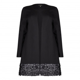 Yoek Black Long Jacket With Floral Applique - Plus Size Collection