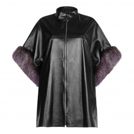 YOEK black leather PONCHO - Plus Size Collection