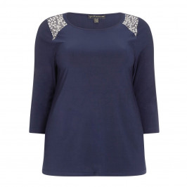 YOEK TOP WITH CRYSTAL EMBROIDERED SHOULDERS  - Plus Size Collection