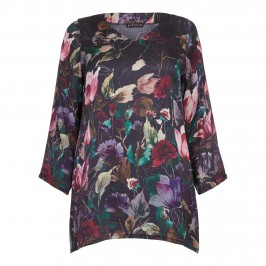 YOEK large floral print v-neck TUNIC - Plus Size Collection