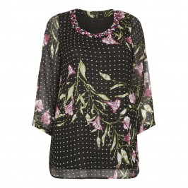 YOEK embellished floral print chiffon Tunic - Plus Size Collection