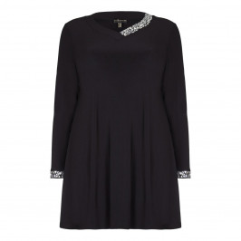 Yoek black jersey tunic with crystal embellishment - Plus Size Collection