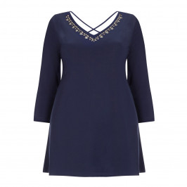 YOEK NAVY EMBELLISHED CRYSTALS TUNIC - Plus Size Collection