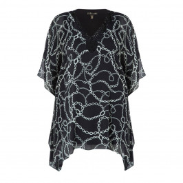 YOEK BLACK AND WHITE EMBELLISHED TUNIC - Plus Size Collection
