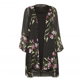 YOEK floral chiffon Jacket with plain Vest - Plus Size Collection