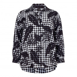YOEK BLOUSE MONOCHROME GINGHAM COLLAR - Plus Size Collection