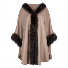 YOEK FUR TRIM PURE CASHMERE HOODED CAPE