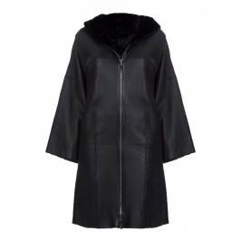 YOEK HOODED LAMBSKIN BLACK COAT - Plus Size Collection