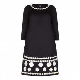 Yoek Dress with Appliqued White Daisies - Plus Size Collection