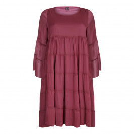 YOEK bordeaux tiered chiffon DRESS - Plus Size Collection