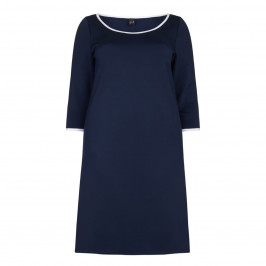 YOEK navy shift DRESS with white trim - Plus Size Collection
