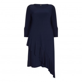 YOEK NAVY JERSEY DRESS WITH RUFFLE  - Plus Size Collection